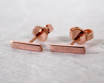 10mm x 2mm 14k Rose Gold Bar Stud Earrings Modern Pink 10mm Gold Earrings by SARANTOS
