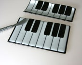Piano Cheese Board and/or Cracker Tray Set Fused Glass Platter Cheese Tray Serving Dish 0073