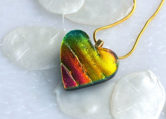 One of a Kind Heart Dichroic Fused Glass Pendant Necklace Jewelry 01190