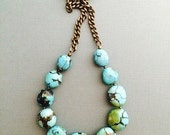SALE Selma. Chunky Turquoise Necklace, Large Brass Chain, Huge Turquoise Nuggets, Boho Jewelry, Gift for Her