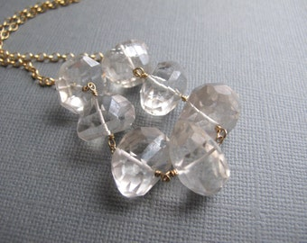Luxe Crystal Quartz Bib Necklace, 14K Gold Filled Chain Necklace, Clear Gemstone Bridal Jewelry