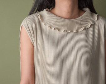 beige micropleat dress / ruffle collar dress / pleated mini dress / s / m / 1837d