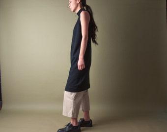coming soon - black merino wool turtleneck dress / sleeveless mini black dress / lbd knit dress / s / m / 1881d