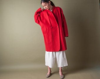 coming soon - cashmere wool wrap coat / red midi coat / vtg 80s kimono style coat / s / m / 1978o