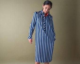 striped ruffle collar dress / 70s tent dress / striped dress / s / 1804d