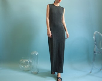 charcoal gray minimalist knit maxi dress / sleeveless crew neck dress / long gray dress / s / 2038d