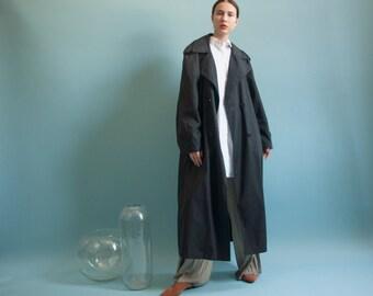 oversized black trench coat / voluminous coat / vintage spy trench coat / s / m / 1983o / R3
