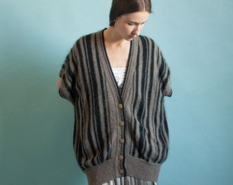 angora sweater vest / striped sweater / dolman sleeve cardigan / s / 653t / B21