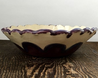Decorative Ruffled Rim Bowl White with Purple Flowers Stoneware Clay Pottery