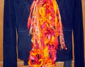 ABLAZE Knitted Scarf Wool Bamboo OOAK Original Design Creation Orange Rust Gold Handspun Yarn