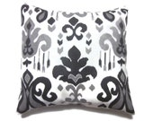 Decorative Pillow Cover Black White Gray Ikat Design  Same Fabric Front/Back Toss Throw Accent 18x18 inch x