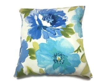 Decorative Pillow Cover Bold Floral Design Shades of Blue Turquoise White Olive Green Same Fabric Front/Back Toss Throw Accent 18x18 inch x