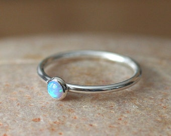 Light Blue Opal Stacking Ring Sterling Silver Ring, Size 2 to 15, October Birthstone, Womens Ring, Bridesmaid Gift, Minimal Ring, Solitarie