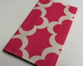 Checkbook Cover Receipts Money Holder Cheque - Pink White Tarika Fabric