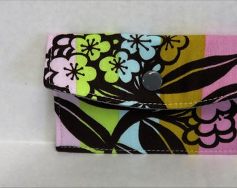 Mini Wallet - Gift Card Holder - Debit Credit Card Case -  Business Card Case  - Snap Closure - Flowers Leaves on Mod Stripes