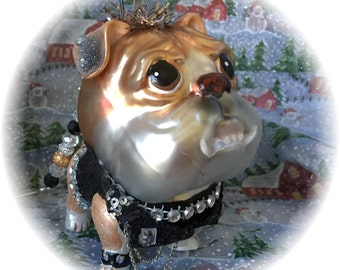English Bulldog Glass Christmas Ornament (Cool Dude!) with Handmade Hanger w/ Swarovski Crystal Beads, Unique Gifts, Dog Lover Gifts
