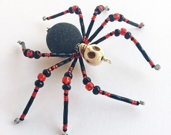 Destiny - red and black glass beaded skull spider goth sun catcher - Halloween decoration - Christmas ornament