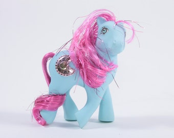 My Little Pony Gorgeous Princess Royal Blue Filly - Tinsel Hair Blue with Jewel ~ Pink Room ~ 161205