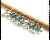 Snag Free Stitch Markers Small Set of 8 - Blue Green Faceted Glass -- K19 -- Up to size Us 8 (5.0mm) Knitting Needles