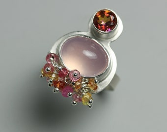 Sapphire Cluster and Rose Quartz Multistone Ring. Rose Quartz Sterling Silver Statement Ring. US Size 6 3/4.