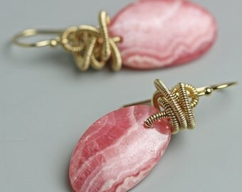 Rhodocrosite Dangle Earrings with Gold Fill Coils