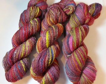Destash -- Three Skeins of Hand Spun Yarn in Different Styles From the Same Batts -- Bollywood Trio (240 grams)
