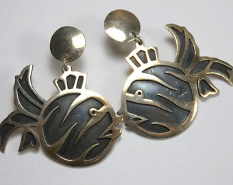 SJK Vintage -- Mexico 925 Signed Modernist Sterling Fish Pierced Earrings, Post Stud, Dangle (1960's-70's)