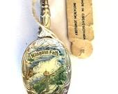 SALE 30% off Antique spoon pendant (1) Czech enamel niagara falls Canada Skylon tower Ontario  hand enamel pics  Findings recycled pendants