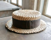 Antique New York Straw Works Boater Hat Size 7