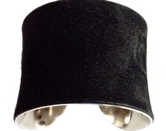 Classic Black Suede Silver Lined Cuff Bracelet - by UNEARTHED