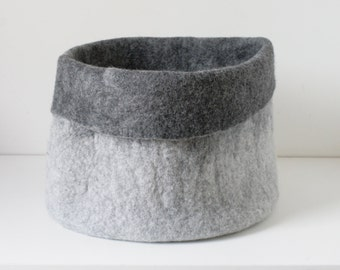 MEDIUM SIZED Sturdy Everyday Gray Basket / Hand felted wool / Wearable Art