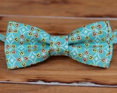 Boys Bow Tie - Teal blue print, yellow, salmon pink accents cotton bowtie - baby infant toddler child preteen boy ties - boys bow tie