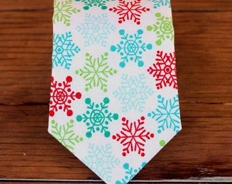 Mens Christmas Necktie -  snowflakes in blue, green red on white woven cotton, traditional self-tying necktie, holiday necktie for men, teen