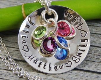 Personalized Mom Jewelry - Hand Stamped Jewelry - Sterling Silver Cupped Necklace - Names and Birthstones - Fits 25 characters - Family