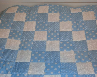Baby Blue Polka Dot Handmade Patchwork Doll Quilt