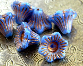 Bluebells (6) -Czech Glass Trumpet Flowers 13x10mm
