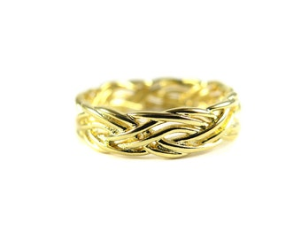 Gold Plated Braided Design Ring (1x) (K753)