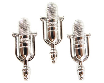 Rhodium Plated Microphone Charms (6X) (M889-B)