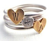 Sterling Silver Stacking Rings Sweetheart Set