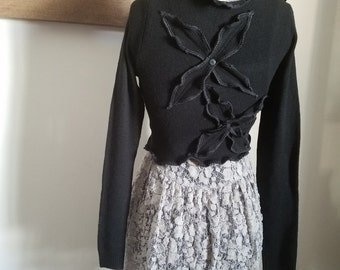 Cropped Sweater XS Ruffled Black Charcoal Gray Recycled Eco Friendly