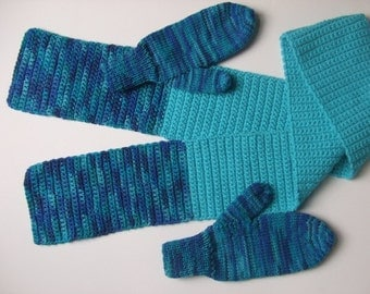 Handknit Mittens, Hand Crocheted Scarf - Shades of Aqua, Blues- For Women and Teens