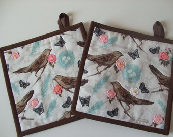 Fabric Potholders - Birds - Set of 2