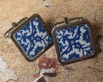 Traditional Blue & White Spanish Tile Cufflinks