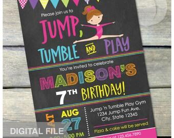"Gymnastics Birthday Chalkboard Invitation Jump Tumble Play Girl Party - DIGITAL Printable Invite - 5"" x 7"""