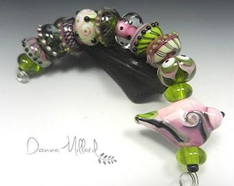 SRA HANDMADE LAMPWORK Glass Bead Set Donna Millard organic lime green pink bird earrings bracelet autumn fall her