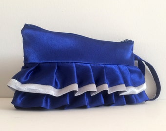 Electric Blue and Silver Horizontal Ruffled Wristlets