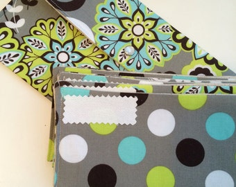 SALE Cash budget wallet - Lime Aqua Floral 6 envelopes