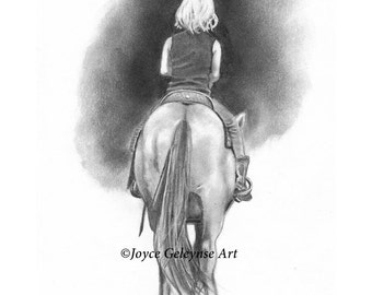 Printable Horse Art, Freehand Pencil Drawing of Girl on Horseback Seen From the Back, Realism Art, INSTANT DOWNLOAD