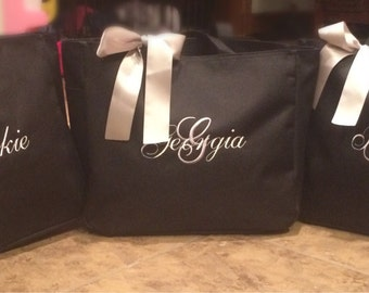 Personalized Bridesmaid Totes Monogrammed - Set of 4- Bridal Party Gifts Bridesmaid black silver white