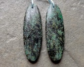 Dark Turquoise Flat Pear Earring Bead Pair - 14x44mm - Matched Pair
